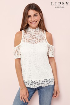 Lipsy Lace Cold Shoulder High Neck Top