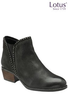 Lotus Footwear Snake-Print Leather Ankle Boots