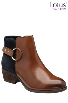 Lotus Footwear Leather & Navy Ankle Boots