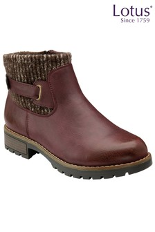 Lotus Footwear Bordo Zip-Up Ankle Boots