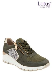 Lotus Footwear Leather & Leopard-Print Casual Shoes