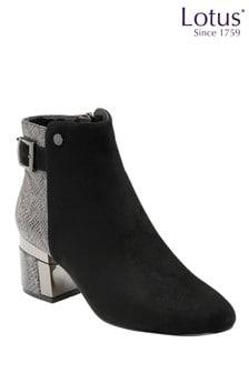 Lotus Footwear Black & Snake-Print Zip-Up Ankle Boots