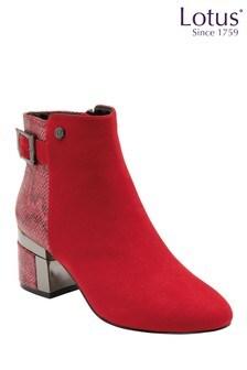 Lotus Footwear Red & Snake-Print Zip-Up Ankle Boots