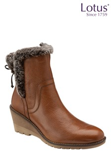 Lotus Footwear Tan Leather Wedge Ankle Boots