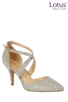 Lotus Footwear Gold Pointed-Toe Court Shoes