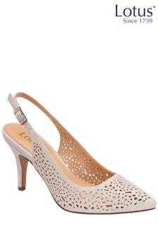 Lotus Footwear Silver Laser-Cut Court Shoes