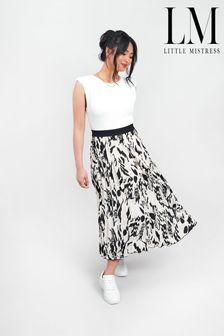 Little Mistress Printed Pleated Midi Skirt