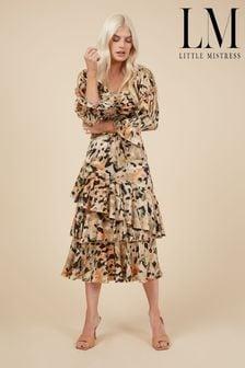 Little Mistress Printed Tiered Midi Skirt