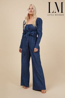 Little Mistress Chambre Flared Leg Jumpsuit With Tie Detail