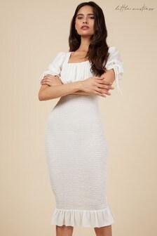 Little Mistress White Puff Sleeve Bodycon Shirred Dress