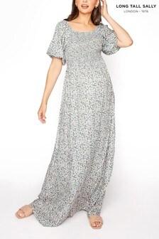 Long Tall Sally Shirred Maxi Dress With Balloon Sleeve
