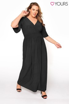 Yours Shirred Waist Wrap Midaxi Dress