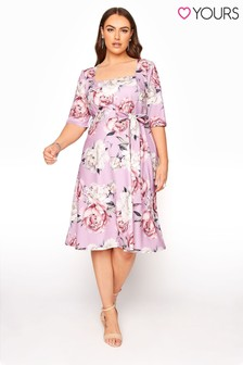 Yours Peony Floral Square Neck Fit And Flare Dress