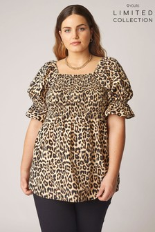 Yours Limited Square Neck Shirred Peplum Animal Blouse