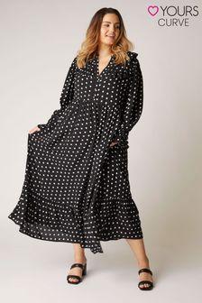 Yours Limited Fashion Frill Maxi Dress Polka Dot