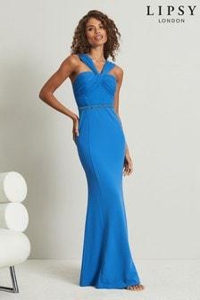 Lipsy Blue Embellished Waist Ruched Dress