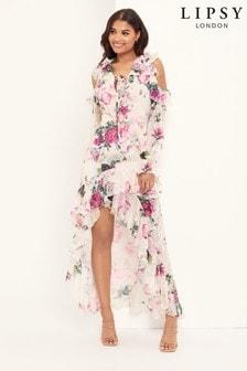 Lipsy VIP Long Sleeve Broidery Midi Dress