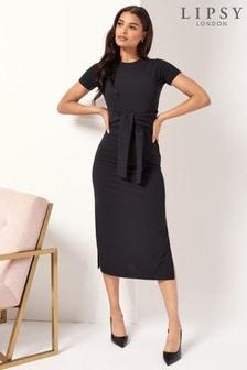 Lipsy Short Sleeve Tie Front Midi Dress