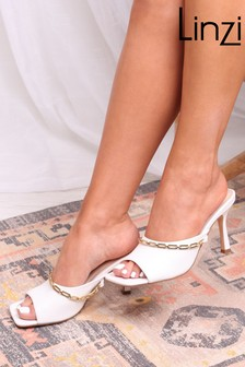 Linzi White Faux Leather Mule With Small Chain Detail
