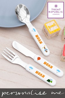 Personalised Kids Scandi Cutlery by Treat Republic