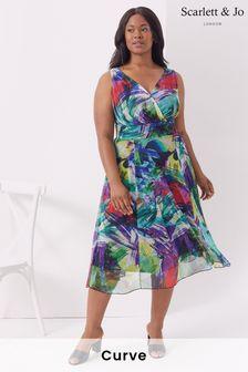 Scarlett & Jo Marilyn Multi Print Midi Dress