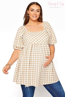 Bump It Up Gingham Square Neck Puff Sleeve Top