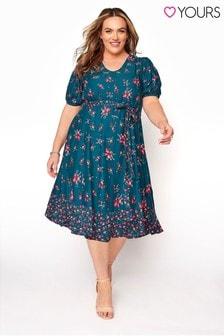 Yours Floral Puff Sleeve Ruffle Hem Tea Dress