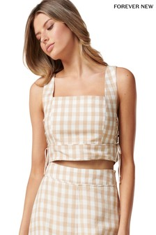 Forever New Elle Gingham Crop Co-Ord Lace Top