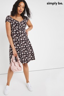 Simply Be Ruched Front Bardot Dress