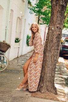 Little Mistress By Vogue Williams Printed Dress With Side Split