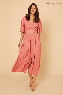 Little Mistress By Vogue Williams Button Down Midaxi Skirt