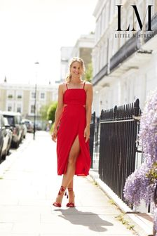 Little Mistress By Vogue Williams Red Strappy Midi Dress
