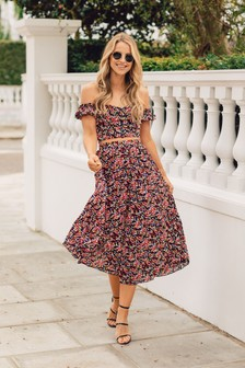 Little Mistress By Vogue Williams Printed Pleated Midaxi Skirt