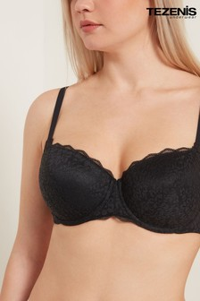 Tezenis Underwired Black Full Coverage Recycled Lace Balconette Prague Bra