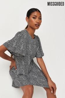 Missguided Dalmatian Print Short Flutter Sleeve Mini Dress
