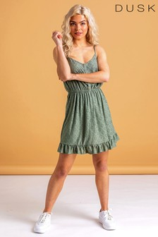 Dusk Strappy Skater Frill Hem Dress
