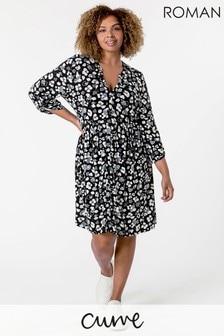 Roman Curve Heart Print Jersey Dress