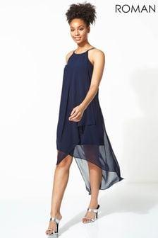 Roman Diamante Trim Layer Dress