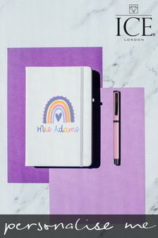 Personalised A5 Notebook with Set of 3 Glitter Pens by Ice London