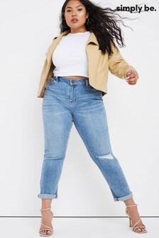 Simply Be Fern Light Stonewash Slim Ripped Boyfriend Jeans
