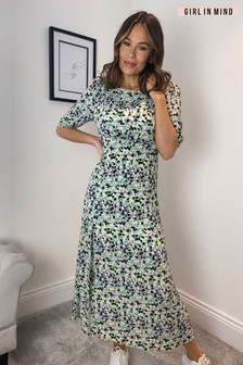 Girl In Mind Lilith Puff Sleeve Round Neck Midi Dress