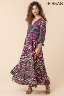 Roman Floral Border Print Maxi Dress