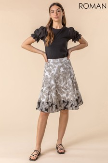 Roman Feather Print A-Line Cotton Skirt