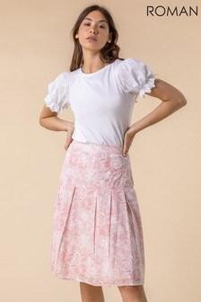 Roman Floral Print A-Line Cotton Skirt