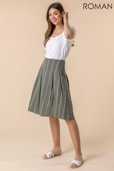Roman Stripe Print Button A-Line Skirt