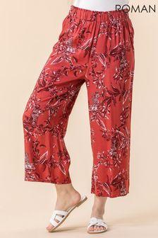 Roman Leopard Leaf Print Culotte Trousers
