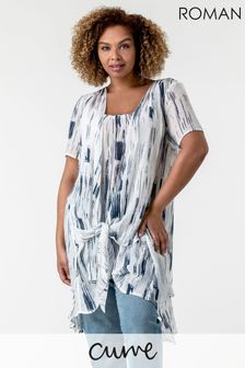Roman Curve Abstract Print Crinkle Tunic Top