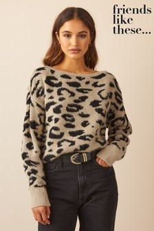 Friends Like These Slash Neck Knitted Jumper