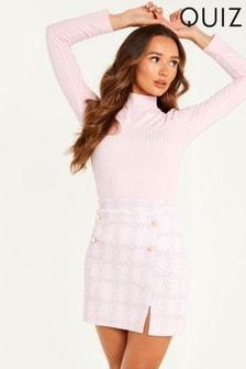 Quiz Checked  Jaquard Mini Skirt