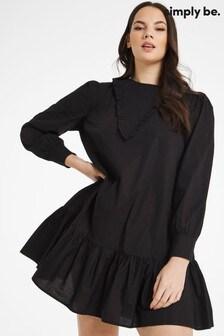 Simply Be Cotton Shirred Detail Poplin Dress
